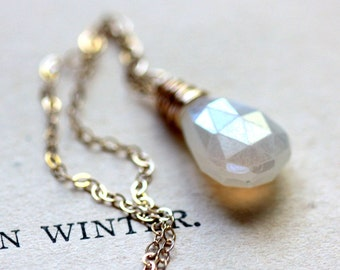 White and Gold Necklace on Gold Fill Chain - Fahrenheit - White and Gold Winter Holiday Fashion Trends
