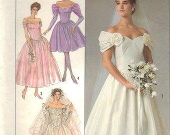 Vintage Simplicity 8413 Sewing Pattern Bridal Gown and BridesMaids Dresses Misses Size 10 Uncut