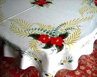 RETRO Vintage Sharp Print TABLECLOTH Cotton Sailcloth Yellow Ferns & Big Flowers