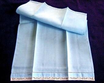 TOWEL Kitchen Bath Wash Cloth Vintage Washstand Guest Display Hemstitched Embroidered BLUE Linen Lace Trim