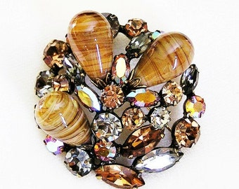 Regency Earth Tones Art Glass Brooch