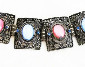Spinner Glass Moonstone Bracelet Pink Blue White