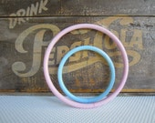 Vintage Plastic Craft Rings Hoops Macrame Pink Blue Pastel Marbled