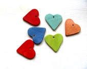 Yellow--Green--Res--Blue--Pink-HeaRt----Ceramic Necklace---Love----Gift--Neon