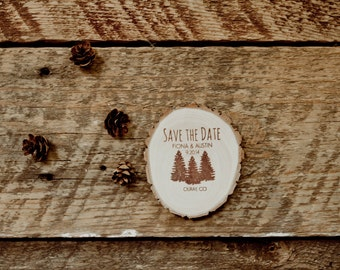 100 Rustic Pine Tree Save the Date Magnets