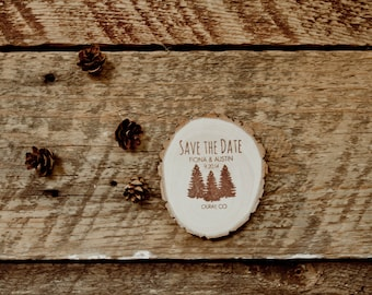 25 Pine Tree Save the Date Wood Slice Magnets