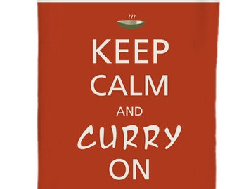 Keep Calm and Curry on printed quirky tea towel