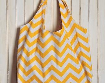 Canvas Tote Bag - Yellow Chevron