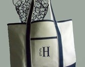 Personalized Canvas Boat/ Beach Bag Tote In Natural With Navy Trim