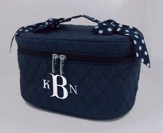 Personalized Cosmetic Train Case Navy With Navy and White Polka Dotted Trim-Monogram Included