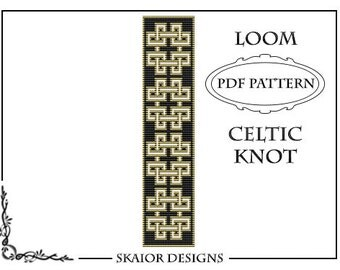 Loom Beading Pattern Celtic Knot Bracelet Cross Seed Beads Tribal Black White Loom Beaded Pattern Knotwork PDF Geometric Bookmark Loomwork