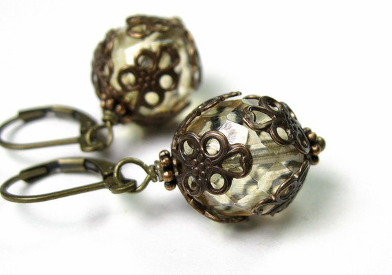 Champagne Beige, Vintage Style Earrings, Czech Glass Rounds, Filigree Vintaj Brass, Dangle Earrings, Victorian Style, Amber, Neutral Color