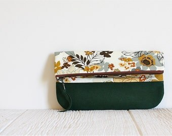 Fold Over Clutch, Print Clutch, Vegan Clutch, Green Floral Print Clutch