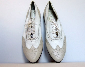 Sz 6 White Beige Leather Oxford Shoes Lace Up Brogues Wingtips Deadstock Womens