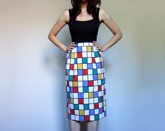 80s Pencil Skirt Checkered Colorful Knee Length Simple Skirt Red Yellow Blue Green Primary Colors - Medium Large M L