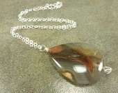 Thunder Agate Gemstone Necklace Sterling Silver LUXE LINE Teardrop Brown Multi
