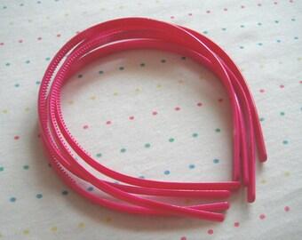 Hot Pink Plastic Headbands, 8 mm Wide (4)