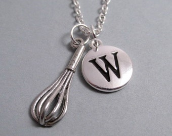 Kitchen Whisk Necklace, Whisk Charm, Whisk Keychain, Silver Plated Charm, Initial Charm, Personalized, Monogram