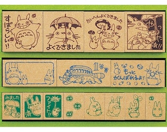 Totoro Stamp Set in Wooden Box - 15 stamps