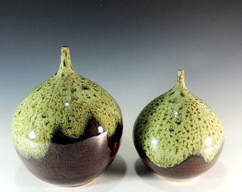 Set of 2 Bottle Vases in Woodland Green over Brown Glaze /  Home Decor / Vase / Vessel / Display Pottery