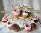 "RUSH listing- Alice in Wonderland ""Eat Me"" Cupcake TOPPERS- Set of 10- Fancy party decorations classy cupcake toppers Alice party stuff"