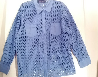 blue cotton 'cut out' shirt blouse mod hippie boho xl plus size