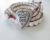 Animal Rescue Donation Hug Your Dog Bracelet Triple Wrap Large Gemstone and Brown Leather Bracelet - 6mm gemstones - Donation
