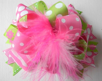 Over the top Lime and Pink Hair bows - Polka dots