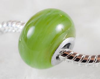 Jade- big hole lampwork glass bead