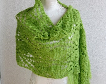 Shawl, Apple Green, Emerald, Green,  Rectiangle Shawl, Feminine, Spring, Summer, Winter, Unique, Scarf,