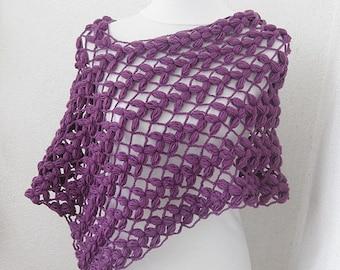 Purple Poncho, Cape, Capelet, Crochet poncho, Shawl, Shrug, Wrap, women poncho, gift for her