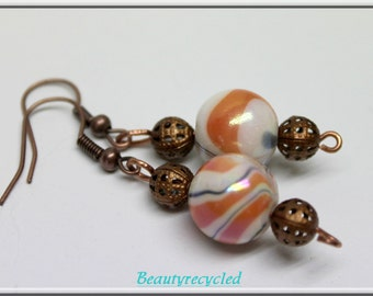 white and orange swirls glass beaded earrings antique copper earwires