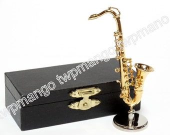 Miniature Saxophone Gold Metal with Case N140