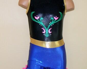 Disney's Frozen Princess Anna Inspired Gymnastics Dance Biketard. Dancewear. Princess Anna Performance Costume. Size 2T - Girls 12