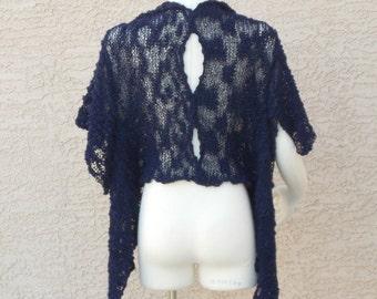 Handmade Hand Knit Cotton Summer Shrug Summer Bolero Summer Sweater Navy Blue Shrug Bolero Sweater Enticing Keyhole Back  Plus Size Shrug