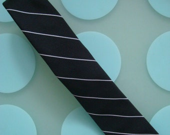 New Lord Chris Silk Black & White Pinstripe Skinny Silk Tie- Made in NYC