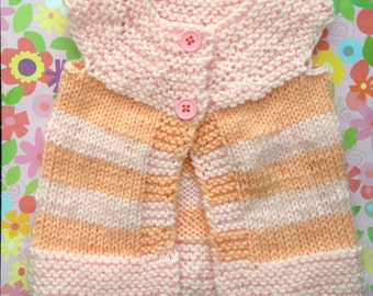 Baby Girl Pink and Tangerine Vest