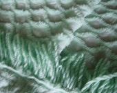 Beautiful vintage chenille Double bedspread diamond pattern mint green flawless
