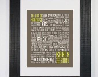 The Art of Marriage Customizable Typography Print 8x10 Word Art Wedding Love Anniversary