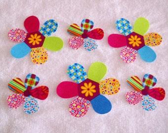 6 PATCHWORK FLOWERS   Cotton Fabric  appliques
