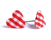 Red and white plaid padded heart fabric stud earrings READY to ship (330) - Flat rate shipping