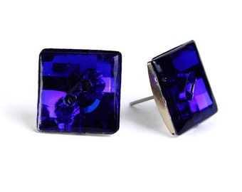Vintage Earrings Royal blue vintage disco mosaic square button studs posts earrings (473) - Flat rate shipping
