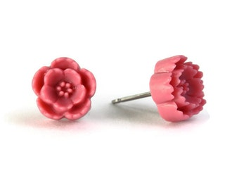 Pink flower surgical steel hypoallergenic studs earrings READY to ship (460) - Flat rate shipping