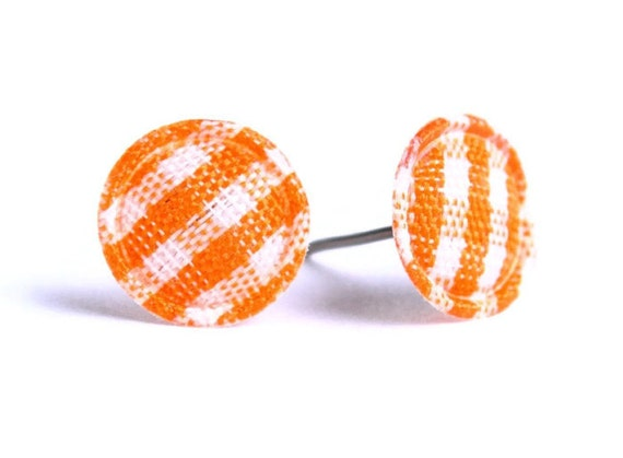 Orange plaid round dot fabric applique hypoallergenic stud earrings READY to ship (333) - Flat rate shipping