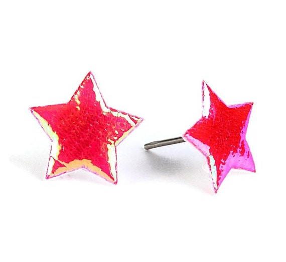 Red garnet shiny iridescent star fabric hypoallergenic stud earrings (393) - Flat rate shipping