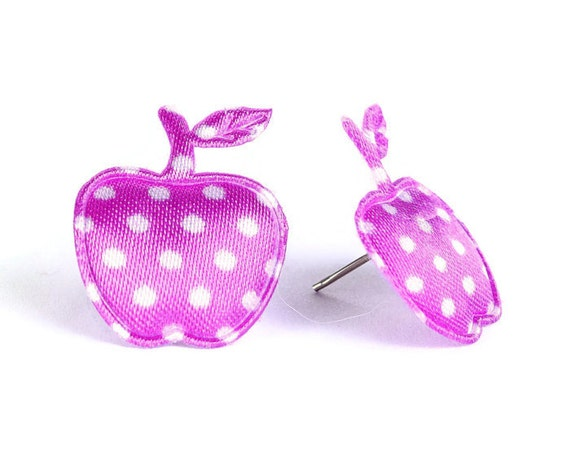 Purple polka dots apple applique satin hypoallergenic studs earrings (400) - Flat rate shipping