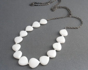 Black and White Geometric Necklace, White Agate Triangle Beaded Gunmetal Chain Long Necklace.