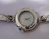 Israel Original Handmade Fine Silver Turquoise Bracelet Watch (s w2943)
