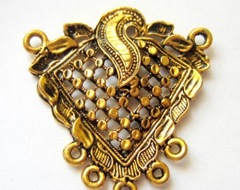 6 Antique gold filigree pendants necklace focals 42mm x 42mm jewelry connectors IJ244 lead free nickel free