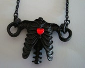 "Gothic Torso Necklace With Blood Red Heart, Share Your Heart, Custom Metal work in Gothic Dark Patina, 24"" Matching Chain, USA, Handmade"